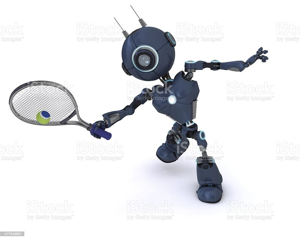 Android playing tennis royalty-free stock photo