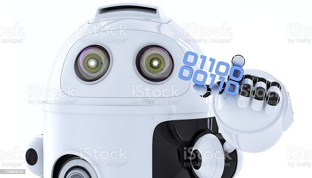 Android robot holding piece of binary code royalty-free stock photo