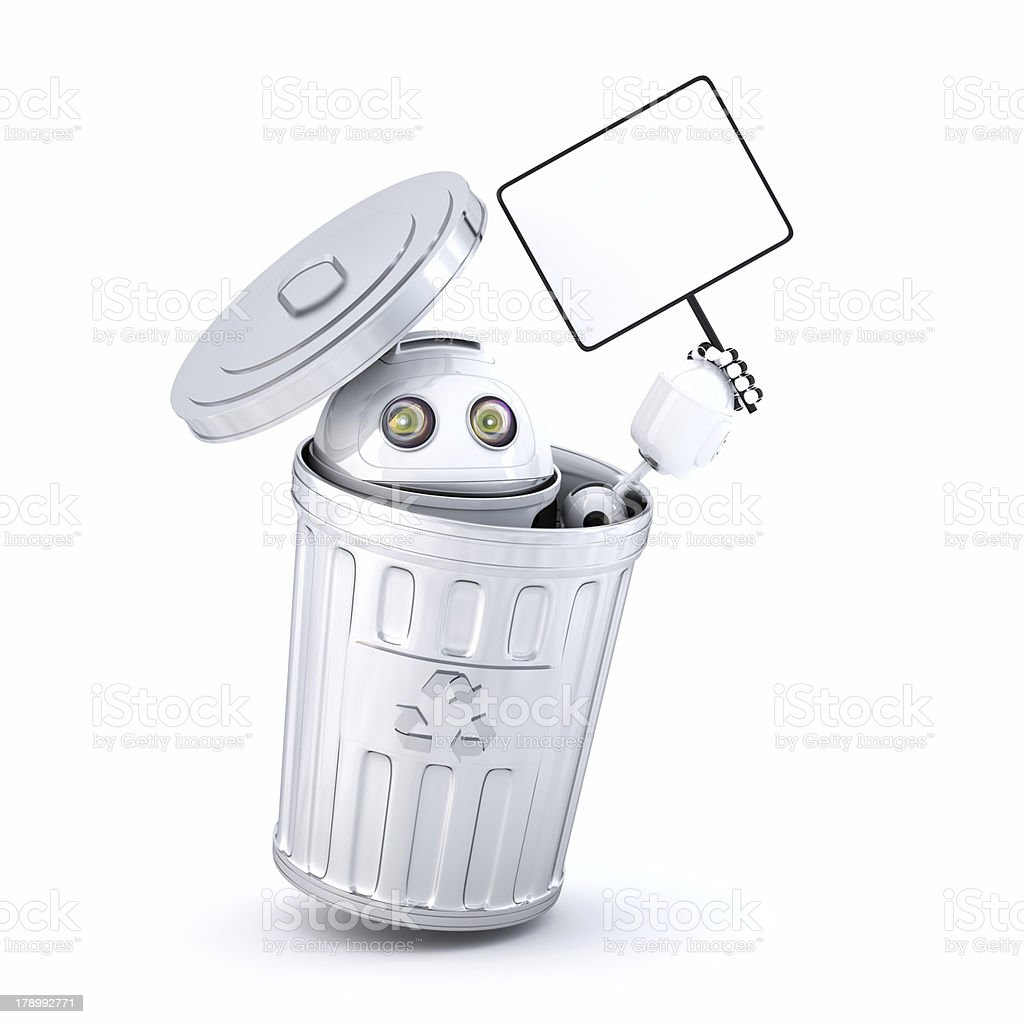 Android robot inside recycle bin royalty-free stock photo