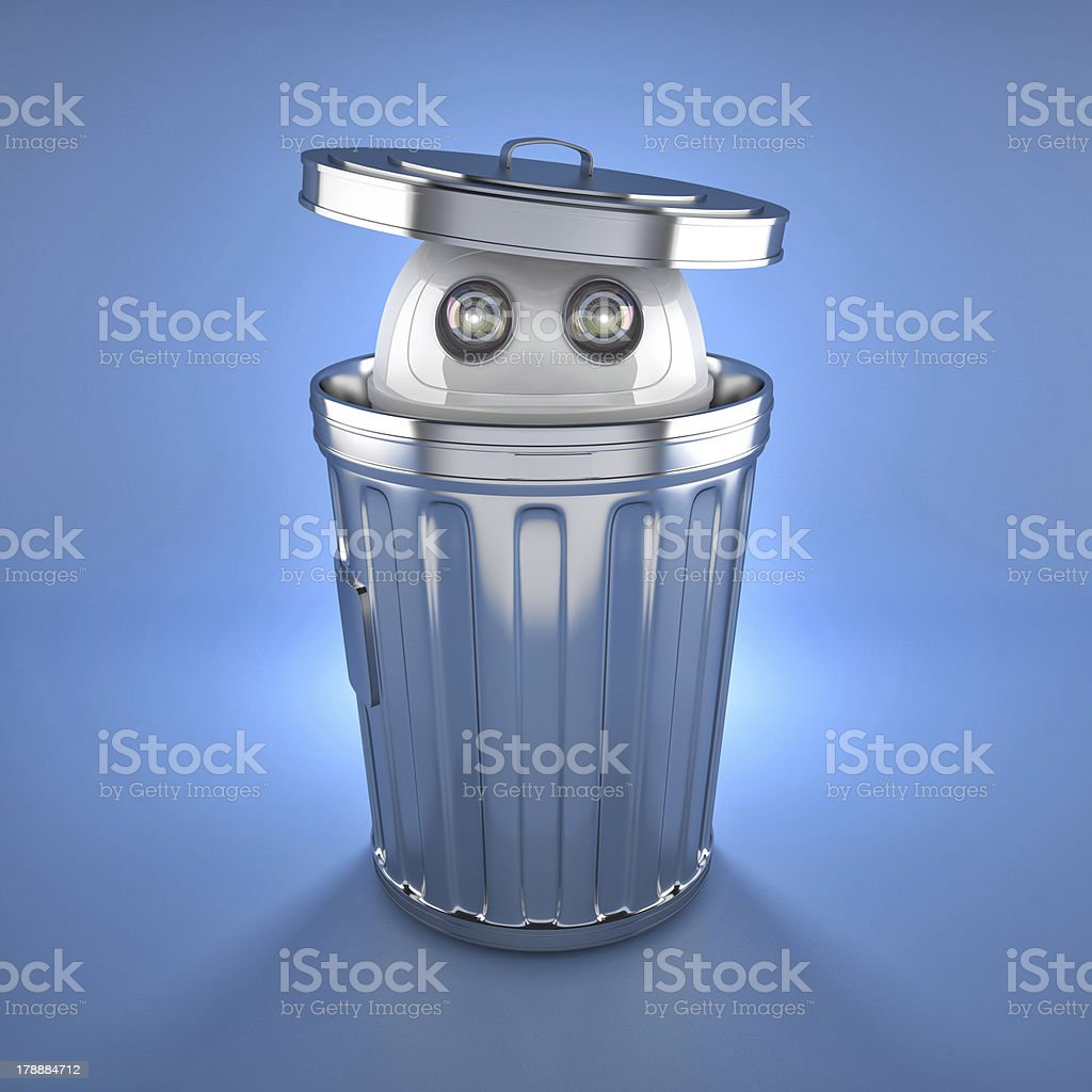 Android robot inside trash bin. royalty-free stock photo
