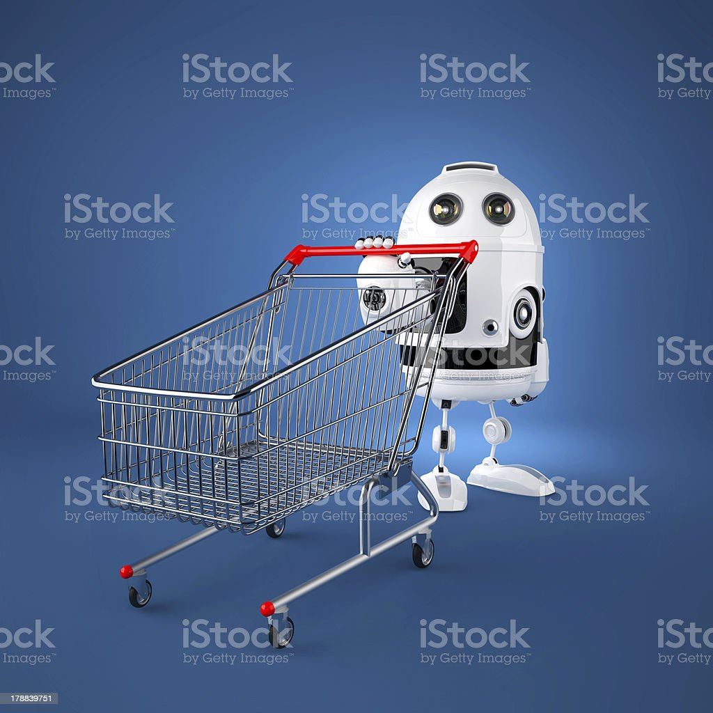 Android robot with shopping cart royalty-free stock photo