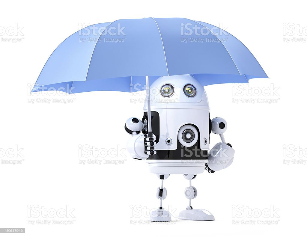 Android robot with umbrella. Security concept royalty-free stock photo