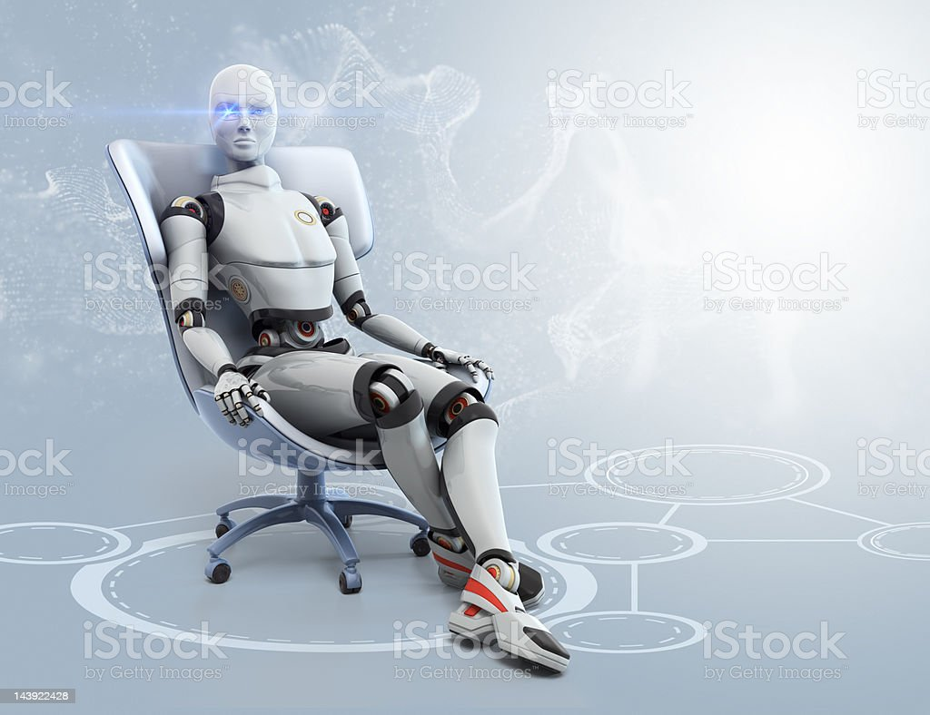 Android sits in a chair stock photo