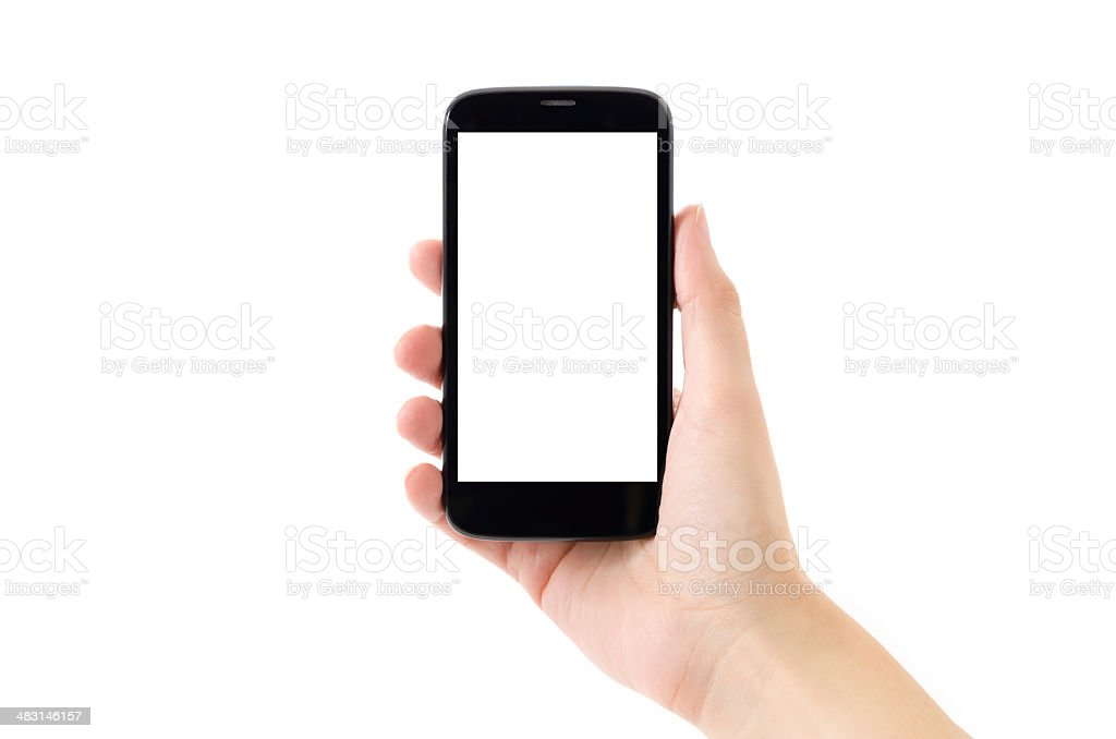 Android Smart Phone on White Background stock photo