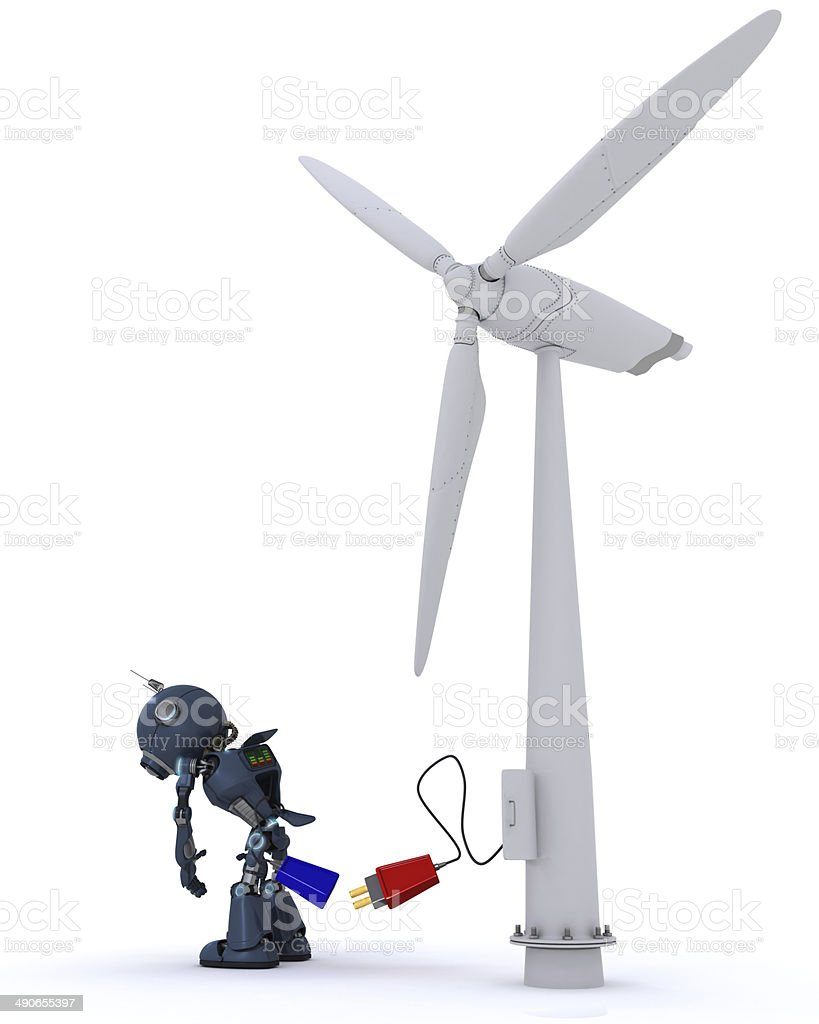 Android with wind turbine stock photo