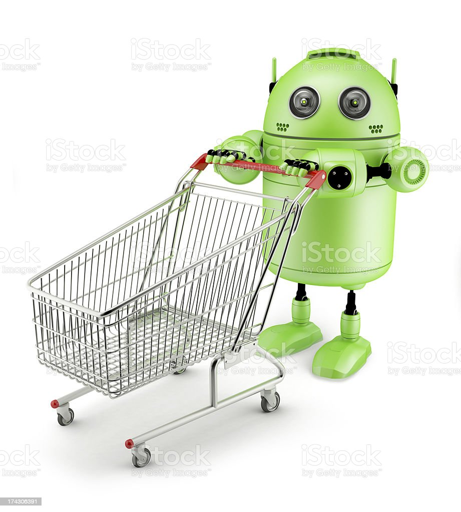 Androidwith shopping cart royalty-free stock photo