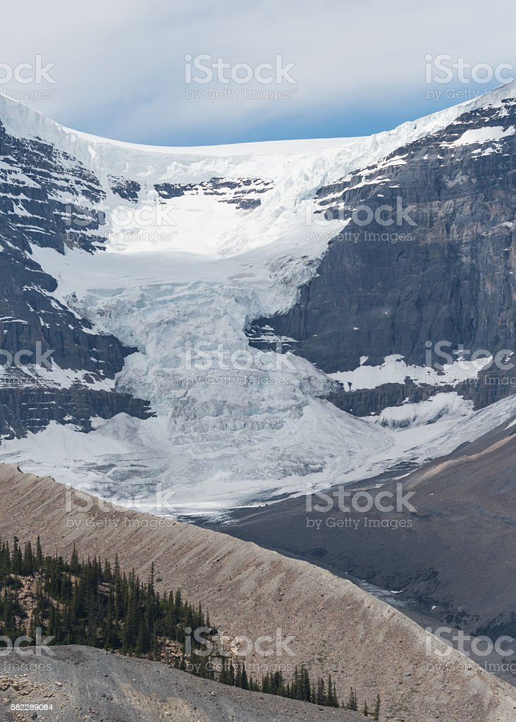 Andromeda Glacier Flows Down to the Valley stock photo