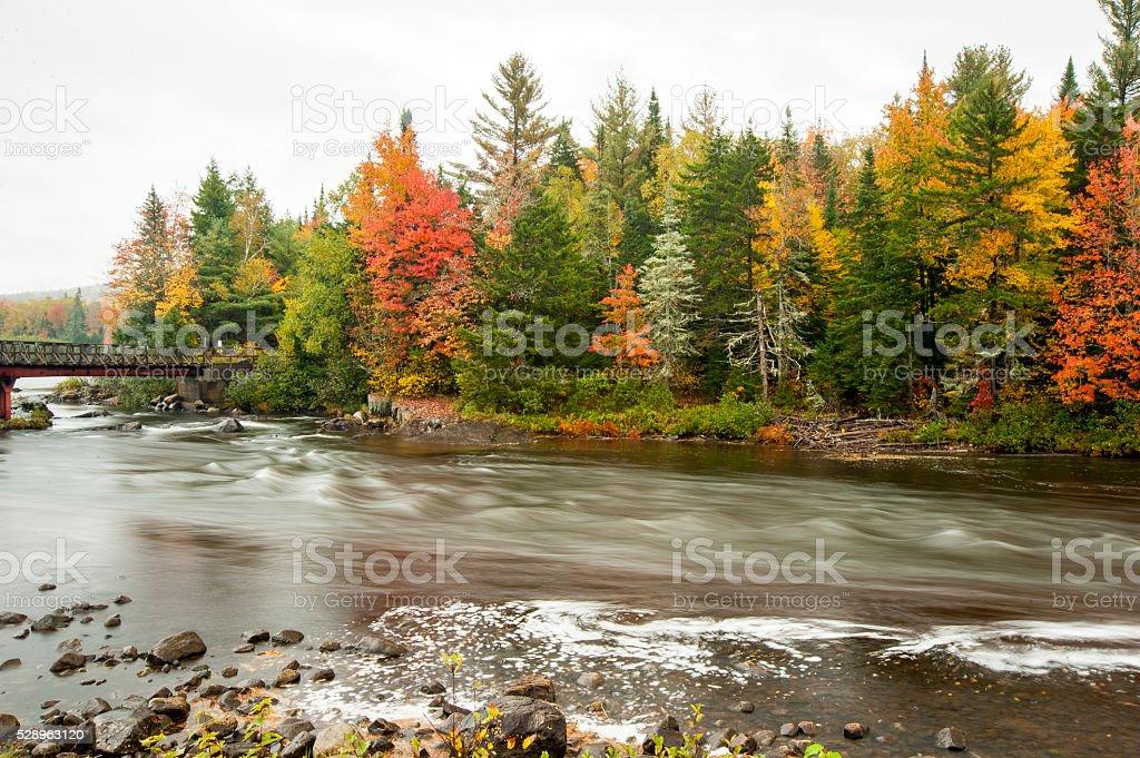 Androscoggin River in fall stock photo