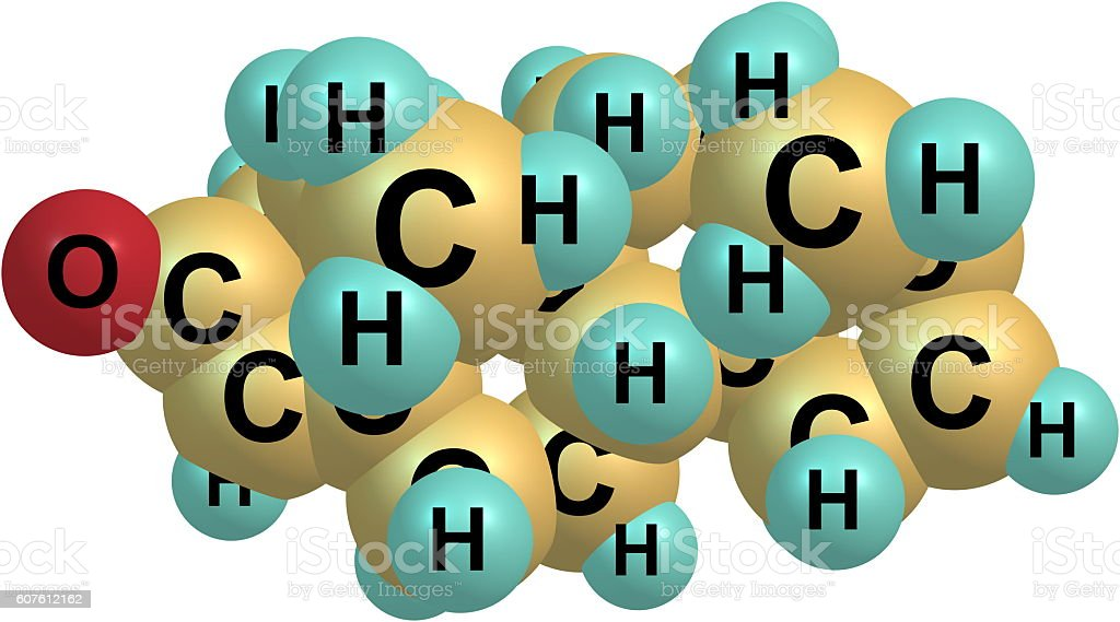 Androstadienone molecular structure isolated on white stock photo