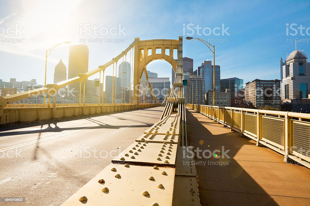 Andy Warhol Bridge To Downtown Pittsburgh Pennsylvania stock photo