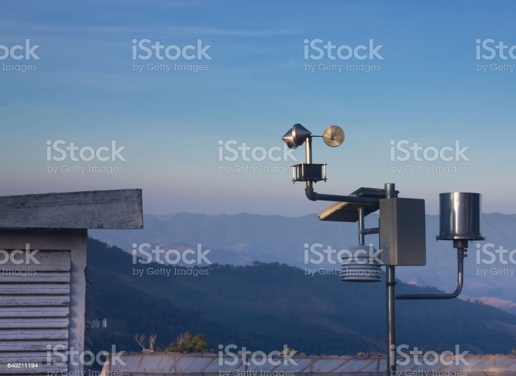 Anemometers for measuring wind speed stock photo