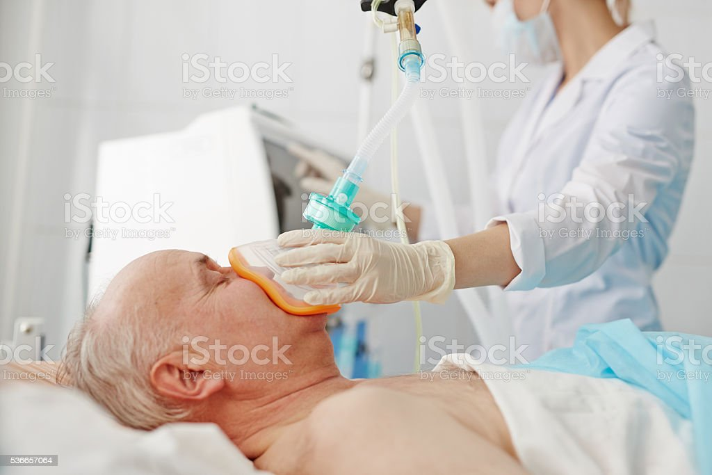 Anesthesia before operation stock photo