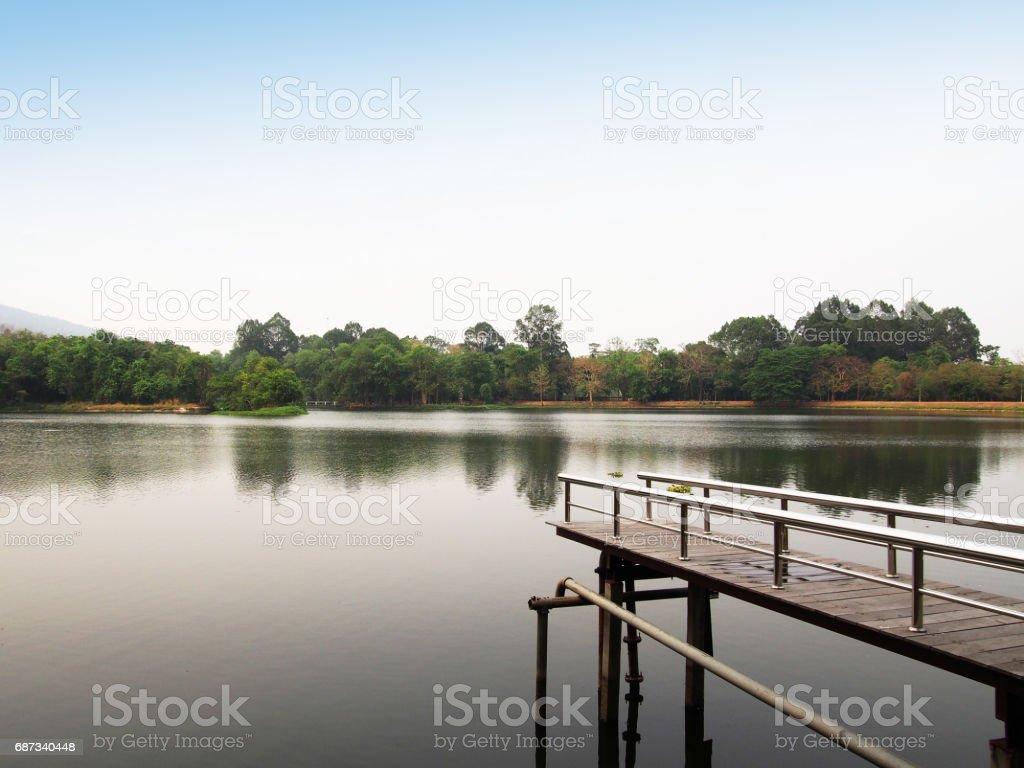 Ang Kaew reservoir at Chiang Mai University in Thailand stock photo