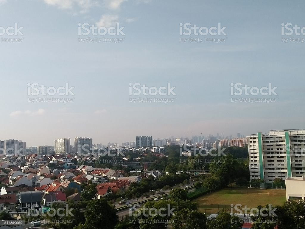 Ang Mo Kio High Rise Flat View towards Singapore town stock photo