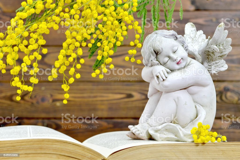 Angel and spring flowers on wooden background stock photo