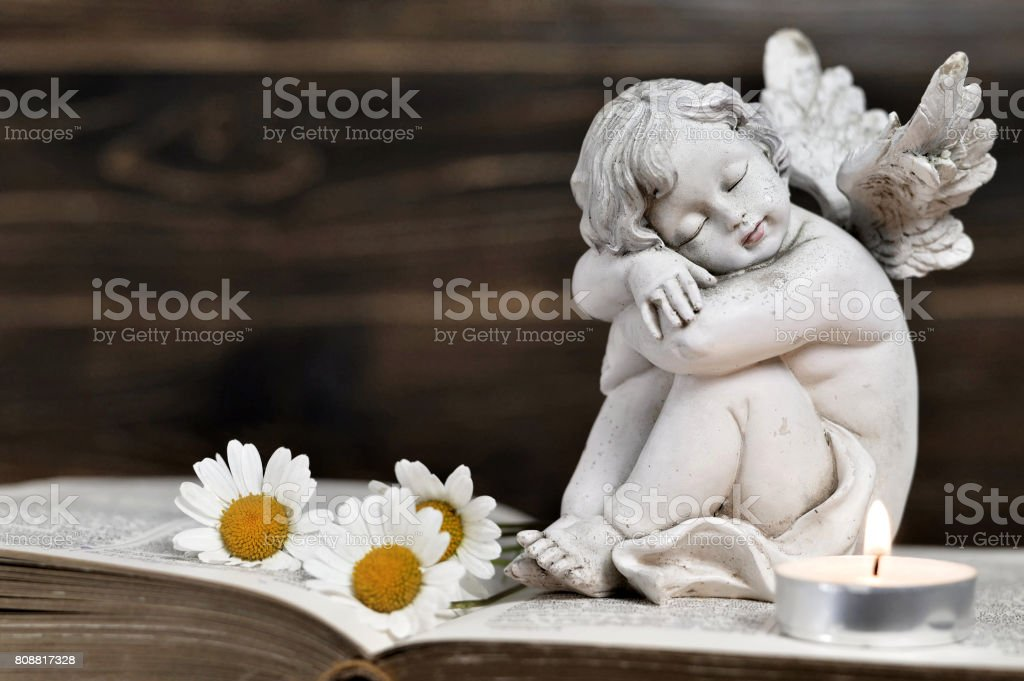 Angel and white flowers on wooden background stock photo