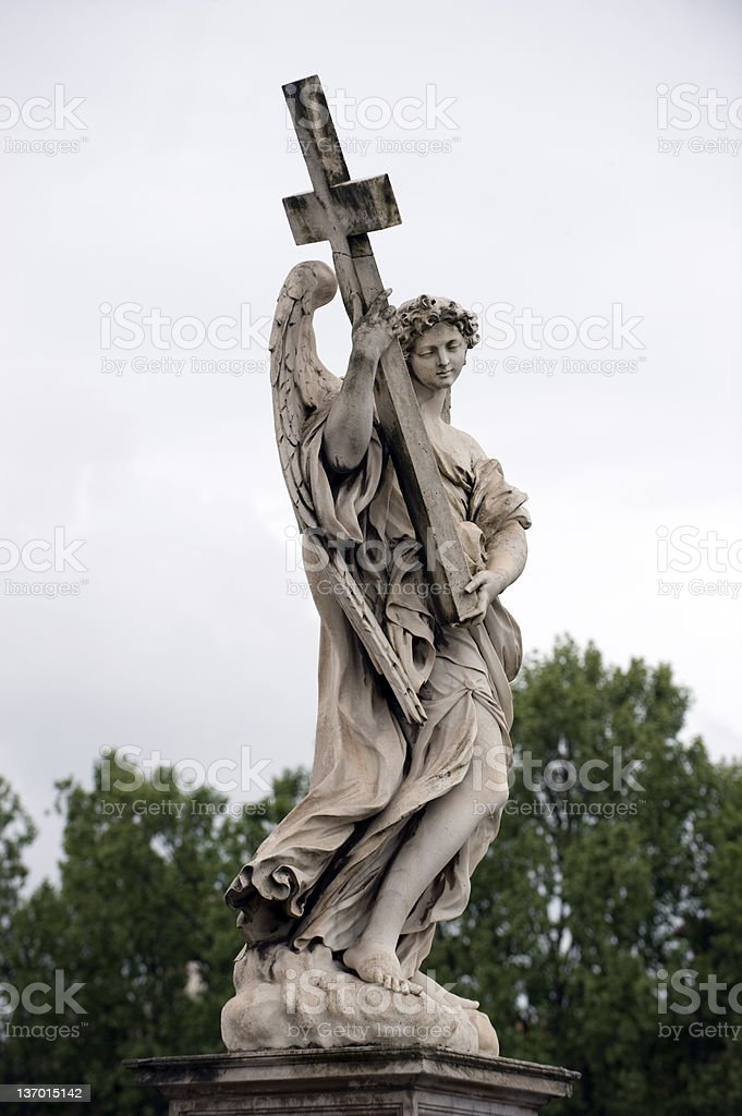 Angel at Ponte St. Angelo stock photo