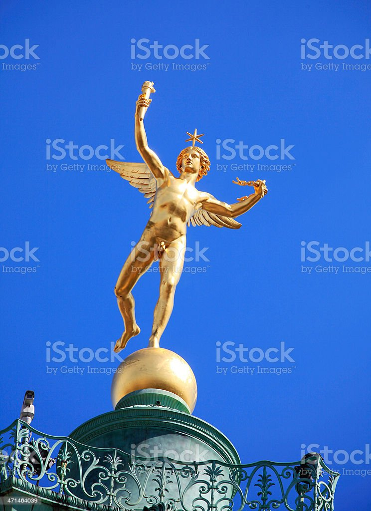 Angel at the top of column Bastille, Paris, France stock photo