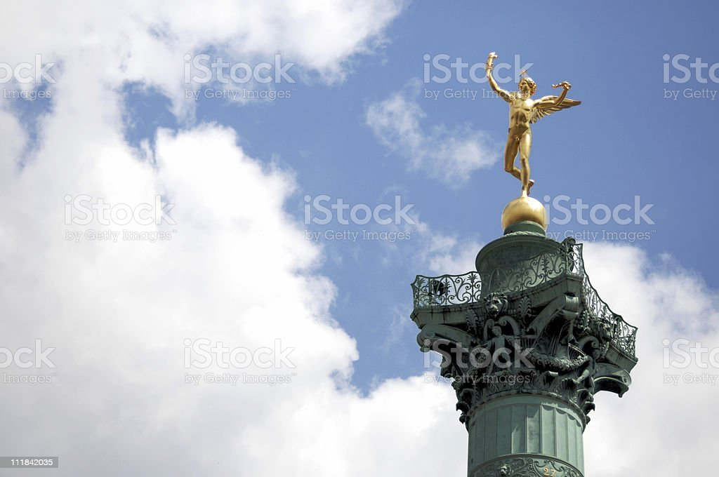 Angel atop Bastille Column Paris France stock photo