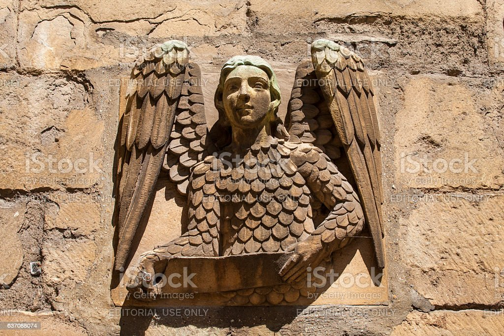 Angel Carving at New College Oxford stock photo