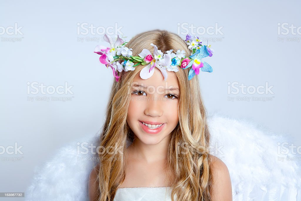 Angel children little girl portrait fashion white wings royalty-free stock photo