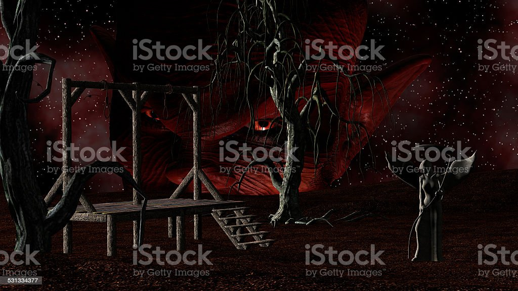 Angel Death with Gallows, Crows, Creepy Trees and Devil vector art illustration
