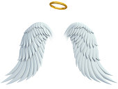 angel design elements - wings and golden halo