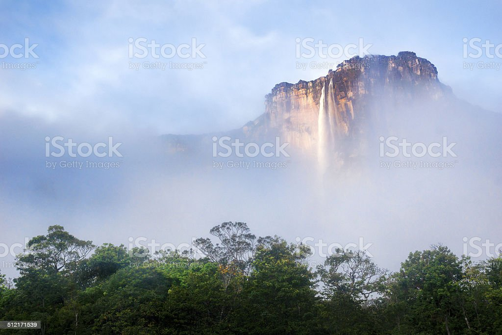 Angel Falls in Venezuela, with clouds stock photo