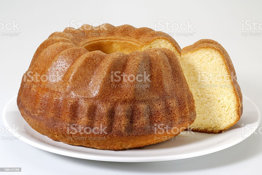 Angel food cake in a bundt shape stock photo