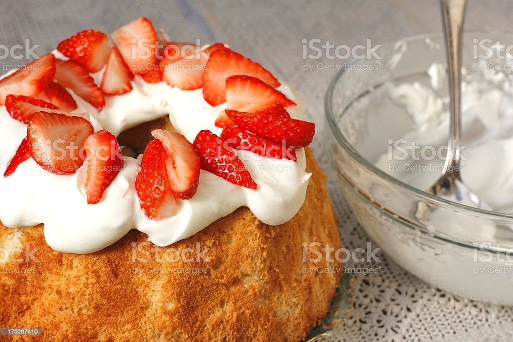 Angel food cake with strawberries royalty-free stock photo