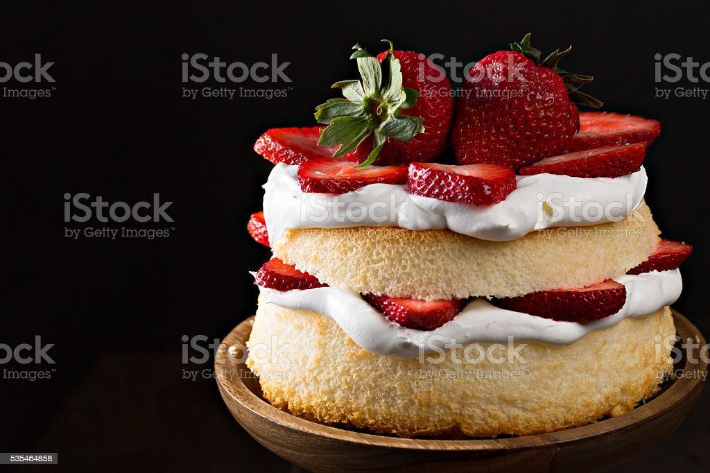 Angel Food Strawberry Cake Dessert stock photo