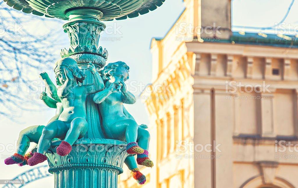 Angel fountain stock photo