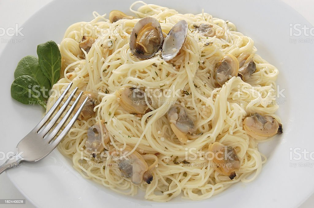 Angel Hair Pasta with Clams royalty-free stock photo