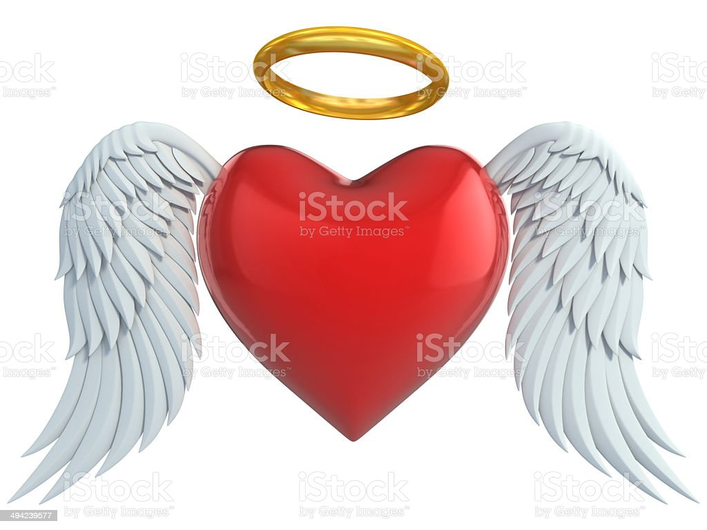 angel heart with wings and golden halo 3d illustration stock photo