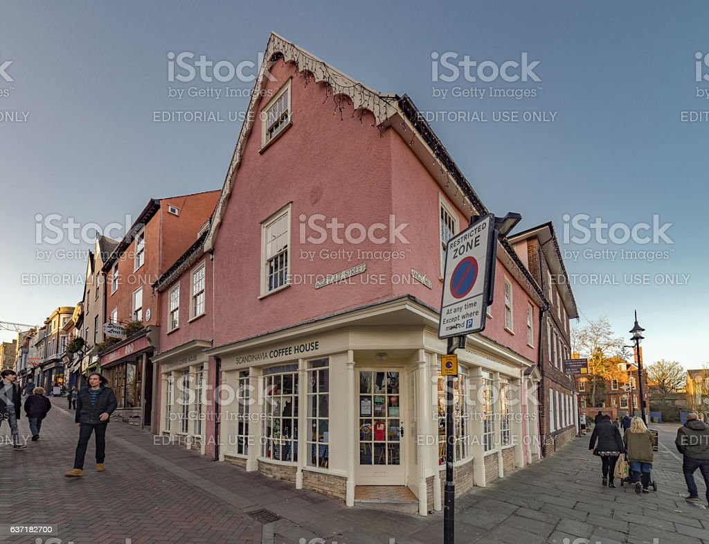 Angel Hill buildings in Bury St Edmunds stock photo