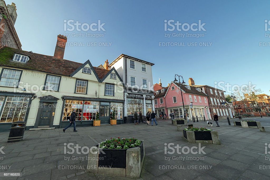 Angel Hill buildings in Bury St Edmunds, Suffolk stock photo