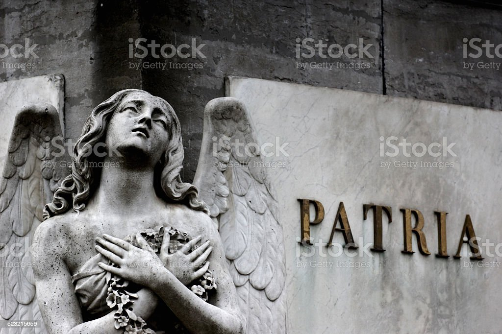 Angel in Grief on a War Memorial in Brussels stock photo