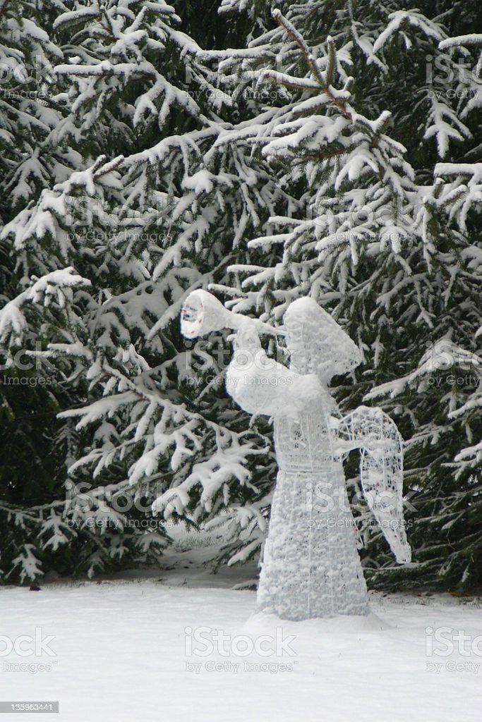 Angel In The Clearing, Winter Snow royalty-free stock photo