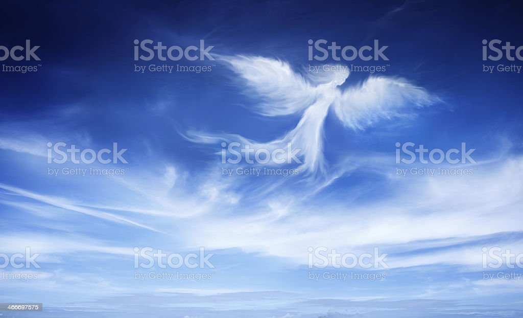 angel in the sky stock photo