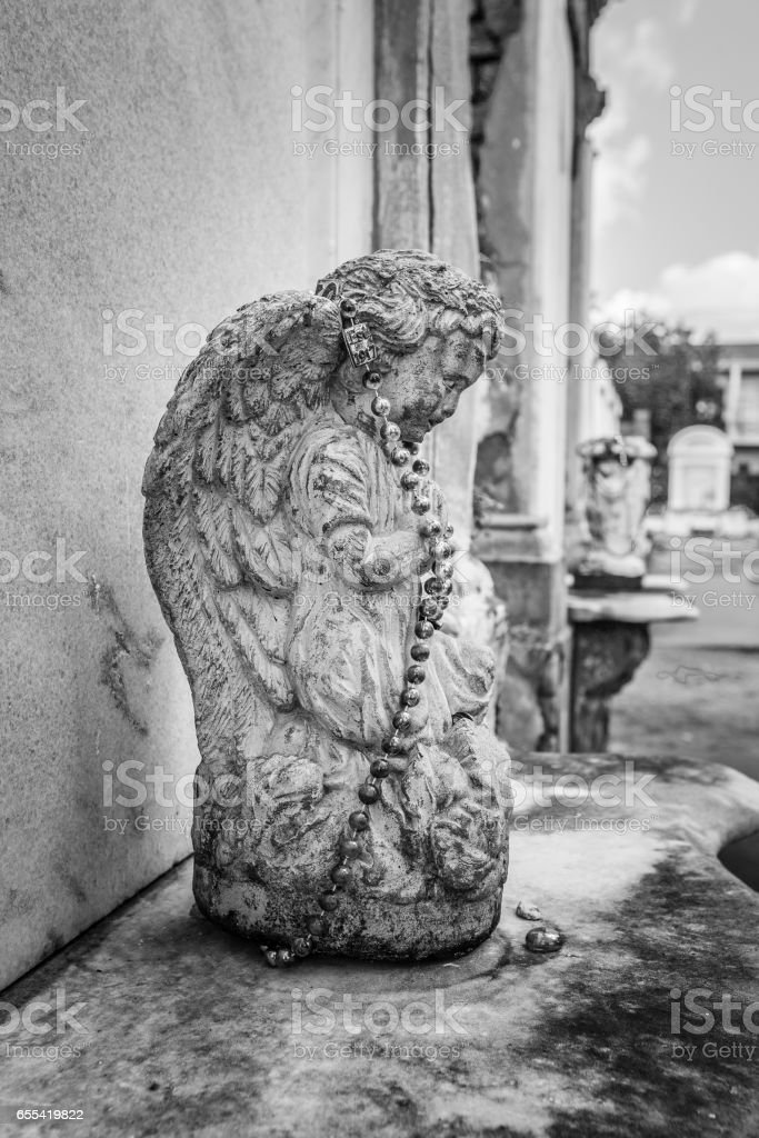 Angel in Waiting, New orleans cemetery stock photo