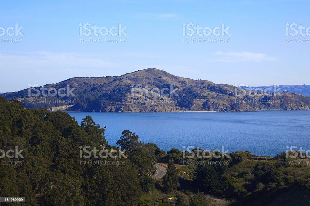 Angel Island from Marin County, San Francisco Bay Area royalty-free stock photo