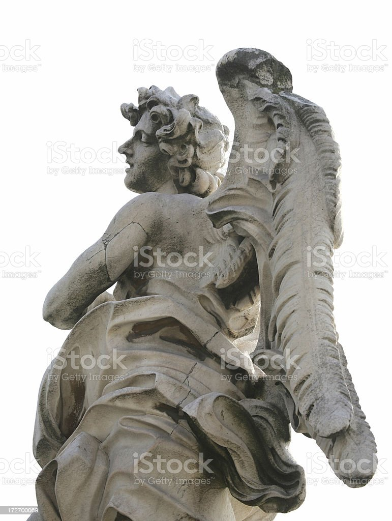 Angel isolated on white, Ponte Sant'Angelo royalty-free stock photo
