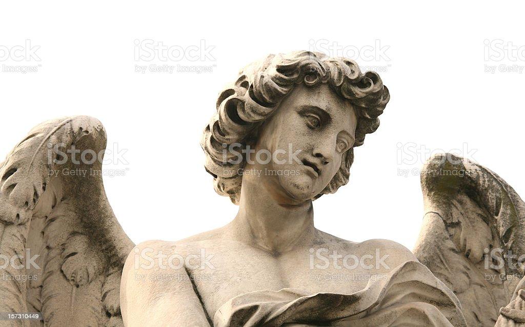 Angel isolated on white, Ponte Sant'Angelo, Rome Italy stock photo