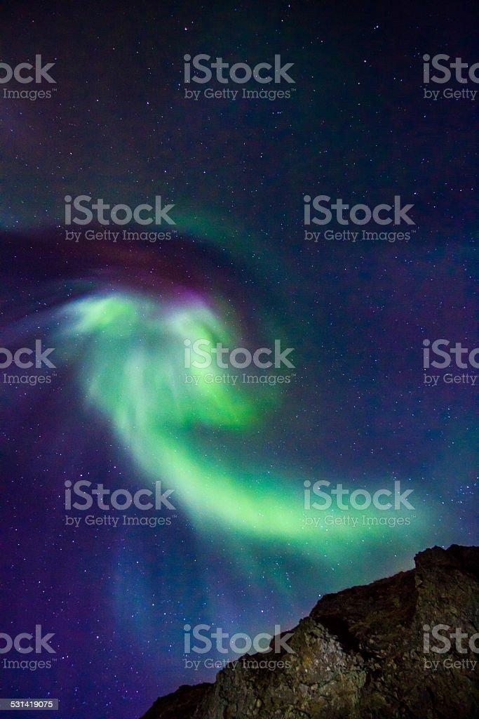 Angel like celestial lights Aurora Borealis into Iceland's winter sky stock photo