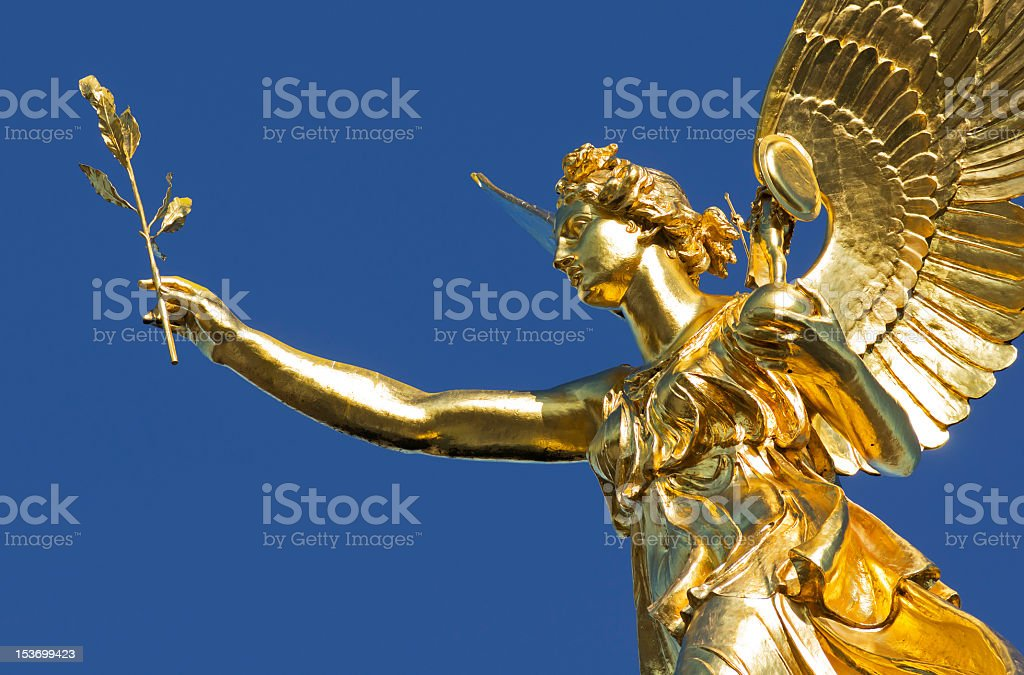 Angel of peace in Munich on clear blue sky stock photo