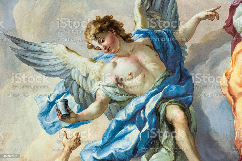 Angel on a Church Fresco royalty-free stock photo