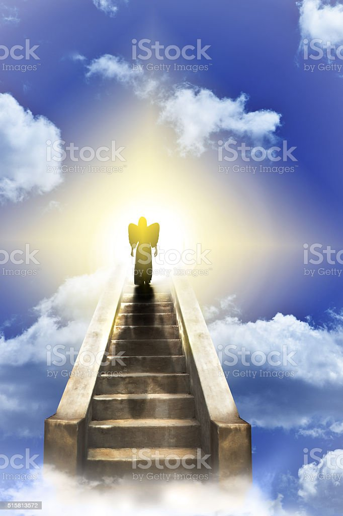Angel On A Stairway To Heaven stock photo