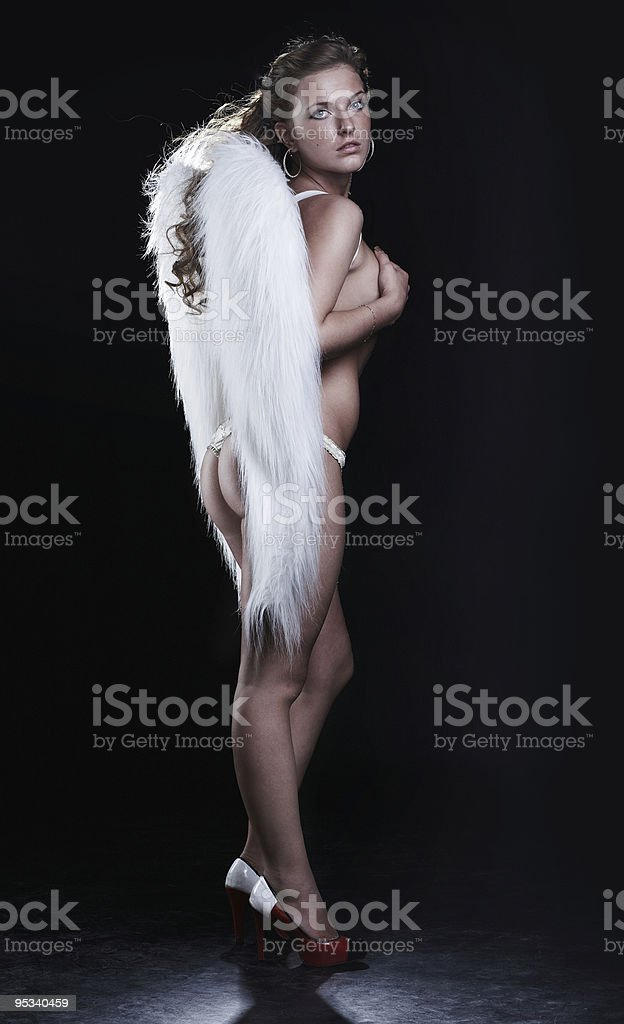 Angel on black royalty-free stock photo