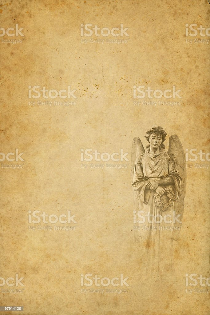 angel on old paper royalty-free stock photo