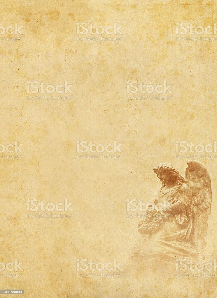 angel on old stained paper royalty-free stock photo